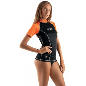 RASH GUARD T-SUN SHORT BLACK/ORANGE LADY