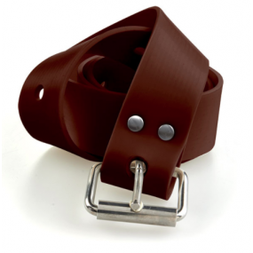 MARSEILLAISE brown silicone belt with s.s. buckle